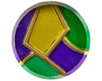 Vintage Green Purple Yellow Glass Cabochon 18mm (2) cab876A