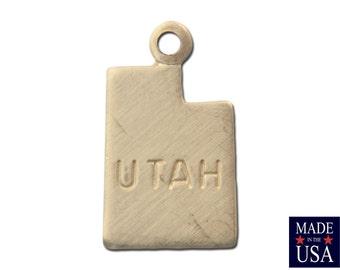 Raw Brass Tiny Utah State Charm Drops 13mm (6) chr201P