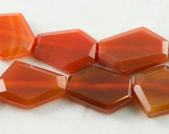 "30% OFF Dakota Stones Carnelian Faceted 25x30mm Hexagon Beads Gemstones. 8"" Strand. CRNHEX-8"