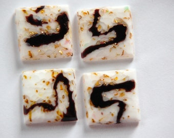 Vintage White Glass Square Cabochons Swirled with Foil 15mm cab036F
