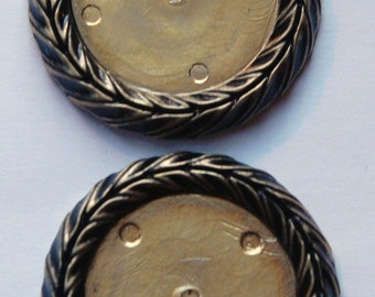 Vintage German Antiqued Gold Plated Plastic Settings 28mm stp007A