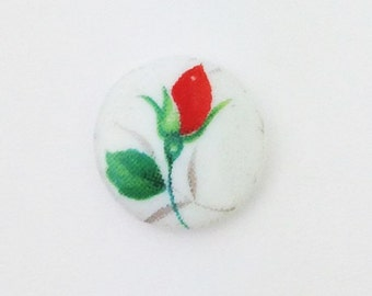 Vintage Red Rose Flower Bud Glass Cabochons Japan 10mm   cab420C