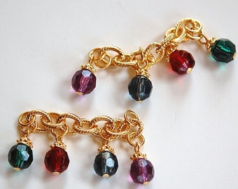 Vintage Gold Plated Chain Lengths with Faceted Acrylic Beads Caps drp002A