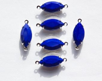 Vintage Opaque Navy Blue Glass Navettes 2 Loop Silver Setting nav004MM2