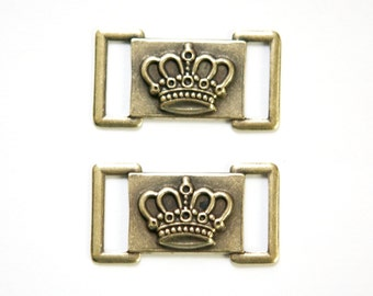 Brass Ox Crown Connector Link (6) mtl406A