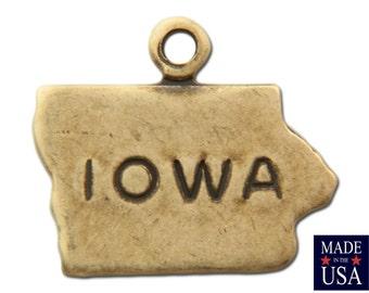 Brass Ox Tiny Iowa State Charm Drops 15x6mm 10x12mm (2) chr204NN