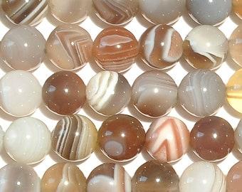 "Dakota Stones Botswana Agate 6mm Round Gemstones 8"" Strand BTS6RD-8"