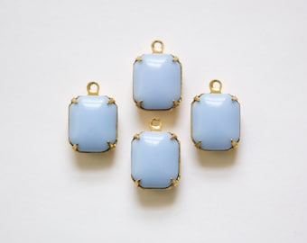 Vintage Deeper Periwinkle Blue Stones 1 Loop Brass Setting 12mm x 10mm oct005S