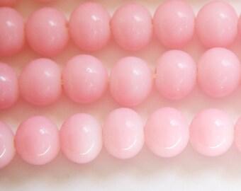 Vintage Opaque Pink Glass Beads Japan 10mm (6) jpn007J