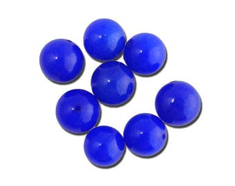Vintage Opaque Royal Blue Glass Beads Japan 8mm (8) jpn003T