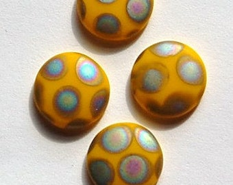 Vintage Matte Yellow Glass Peacock Cabochons Germany 10mm cab792C