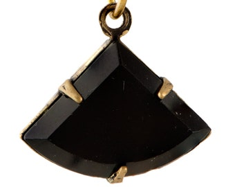 Vintage Opaque Black Faceted Fan Pendant 1 Loop Brass Ox Setting 18x13mm (2) tri006A