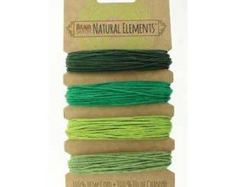 Beadsmith Hemp Cord 4 Color Emerald Shades 20lb/1.0mm