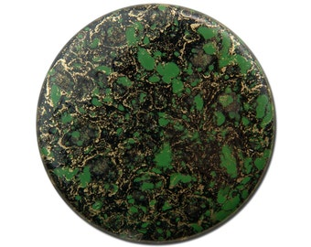 Vintage Metallic Gold Green and Black Acrylic Cabochons 37mm (2) cab838D