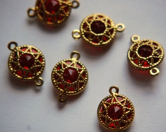 Vintage Ruby Red Connector Beads with Neat Brass Frames 13mm (6) chr136F