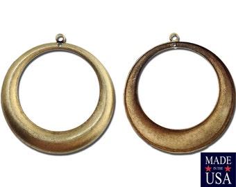 2 Hole Brass Ox Large Hoop Pendant Drop (4) mtl414C
