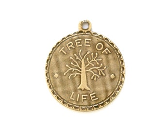 Brass Ox Tree of Life Charm Drop with Loop (1) chr195GG