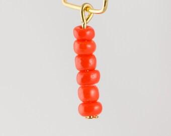 1 Loop Deep Orange Murano Seed Bead Drops 18x4mm (8) Drp1000D