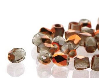 True 2 Czech Crystal Sunset Chrome Faceted Fire Polished Glass Beads 2mm (200+/-)