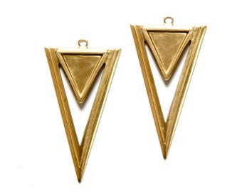 Raw Brass Open Double Triangle Hoop Pendant with Loop (4) mtl420A