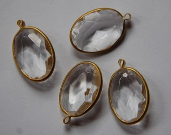 1 Loop Brass Channel Set Faceted Crystal Clear Oval Acrylic Charms chr162A