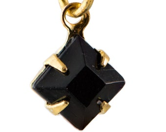 Black Faceted Square Glass Stones in 1 Loop Gold Setting 6mm squ006B