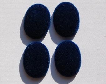 Vintage Blue Velvet Velour Cabochons 25mm x 18mm cab435B
