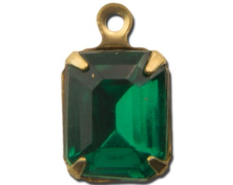 Faceted Emerald Stones in 1 Loop Brass Setting 10x8mm (4) squ003LL