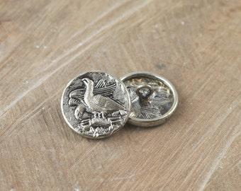 Vintage Metal Buttons Birds with Dead Rabbit SM btn020B