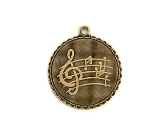 Brass Ox Clef Note Music Charm Drop with Loop (1) chr195KK