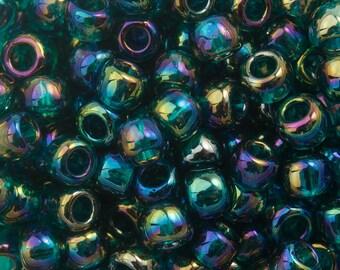 "Transparent Rainbow Teal Toho Seed Bead (8g) 8/0 2.5"" Tube TR-08-167BD/C"