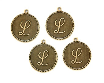 Brass Ox Letter L Initial Charm Drop with Loop (4) chr194L