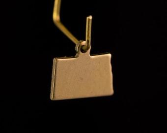 Raw Brass Tiny North Dakota Blank State Charm Drops 11x9mm (2) chr229ZZ