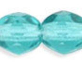 Czech Faceted Light Teal Firepolish Glass Beads 4mm (50) 1-04-60