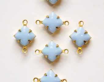 Opaque Light Blue Square Glass Stones in 2 Loop Brass Setting 8mm squ002LL2