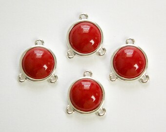 Acrylic Dark Red Cabochon in 3 Loop Silver Tone Setting pnd162F