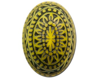 Vintage Etched Mosaic Yellow and Black Cabochons 18x13mm (6) cab714K