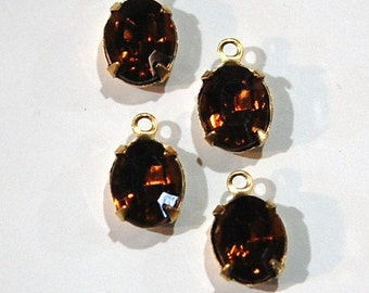 Faceted Topaz Oval Stones in 1 Loop Brass Setting ovl005AA