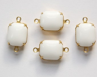 Vintage Opaque White Stones in 2 Loop Brass Setting 12mm x 10mm oct005H2