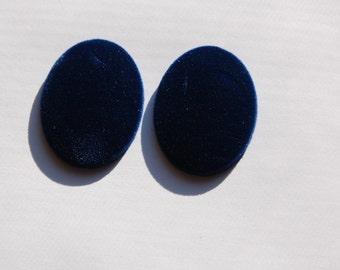 Vintage Blue Velvet Velour Cabochons 40mm x 30mm cab433B