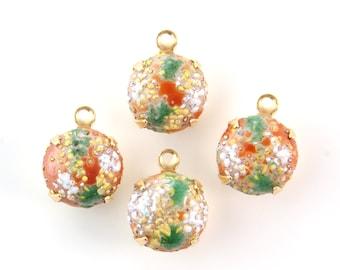 Vintage Bumpy Top Coral Beige Glass Stones 1 Loop Brass Settings 12mm(4)  rnd004KK