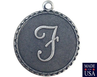Sterling Silver Ox Plated Letter F Initial Charm Drop with Loop (1) chr214F