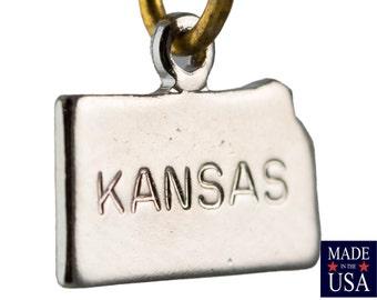 Shiny Silver Tiny Kansas State Charm Drops 11x9mm (2) chr225AC