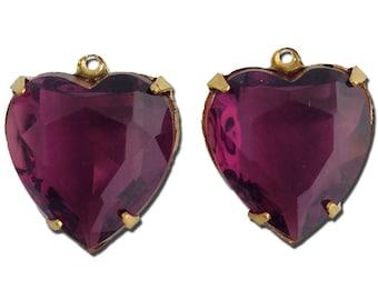 Amethyst Purple Glass Heart Pendants in 1 Loop Gold Plated Setting 15mm hrt003F