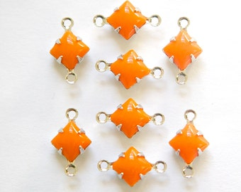 Opaque Orange Square Glass Stones in 2 Loop Silver Setting 6mm squ013M2