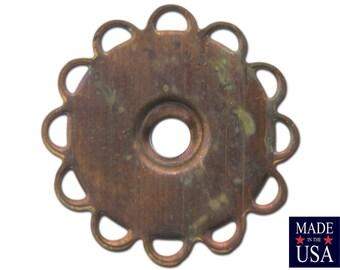 Aged Raw Brass 13mm Flat Lace Edge Settings 13mm (12) stn030B