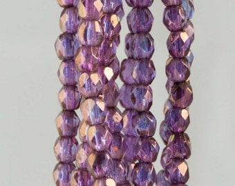 Firepolish Czech Faceted Bronze Illusion Glass Beads 3mm (50)