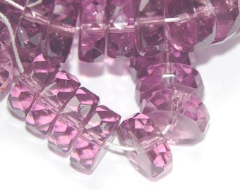 Faceted Amethyst Purple Czech Rondel Glass Beads 10mm x 4mm bds912A