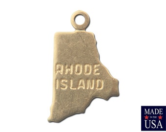 Raw Brass Tiny Rhode Island State Charm Drops (6) chr201FF