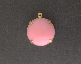 Vintage Opaque Pink Glass Stones 1 Loop Brass Settings 20mm (1)  rnd015A